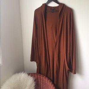 Hooded very long cardigan
